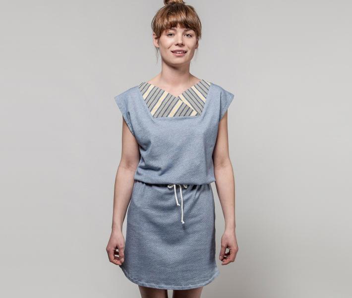 Frisur Zora Mid Wash Blue, modré dámské šaty