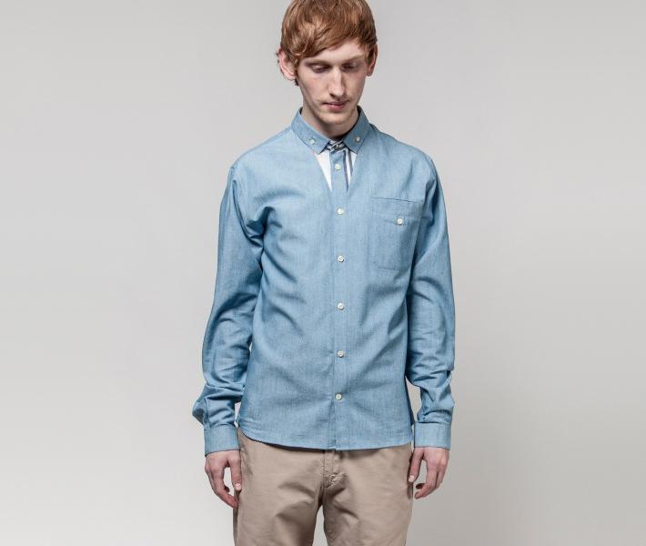 Frisur Ludwig Mid Wash Blue, modrá košile