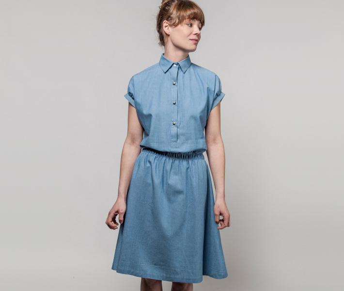 Frisur Lilly Mid Wash Blue, modré dámské šaty
