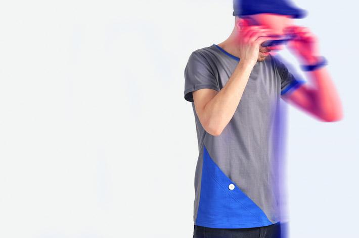 Pattern pánské tričko šedo modré