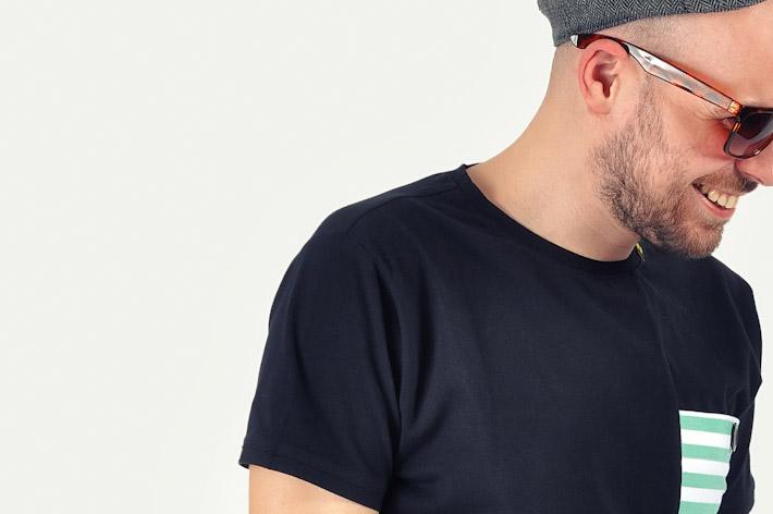 Pattern pánské tričko černé zelené pruhy
