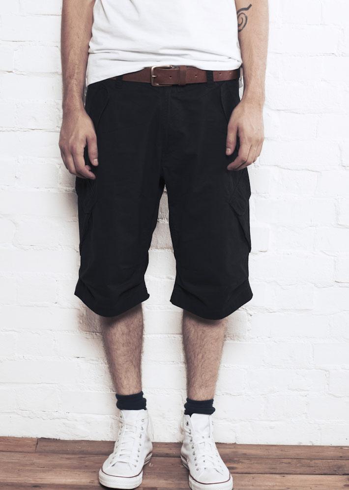 Supremebeing D-OPS Black, pánské šortky indigové
