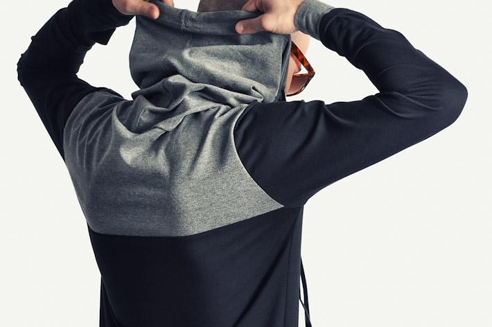 Pattern pánská mikina skapucí černo šedá