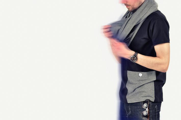 Pattern pánské tričko slímcem černo šedé