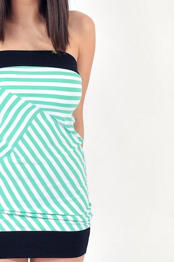 Pattern dámské pruhované letní šaty bílo zelené