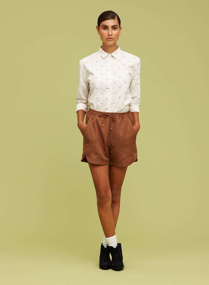 Libertine Libertine dámská bílá košile, dámské hnědé kraťasy
