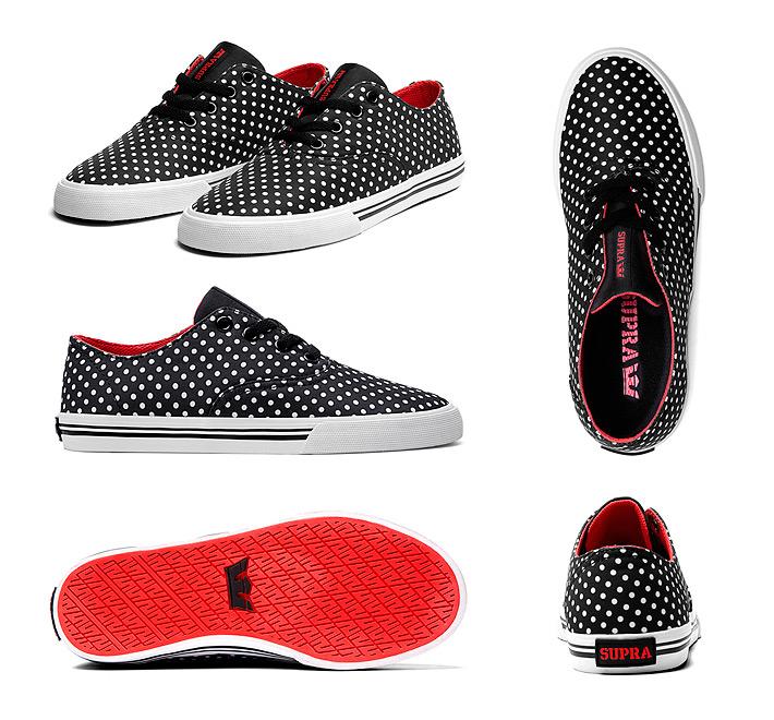 Supra Wrap boty Polka Red White, černé sbílými puntíky