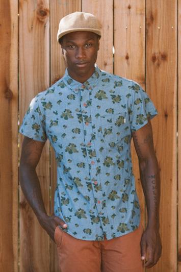 Obey pánská modrá vzorovaná košile, pánské oranžové kalhoty