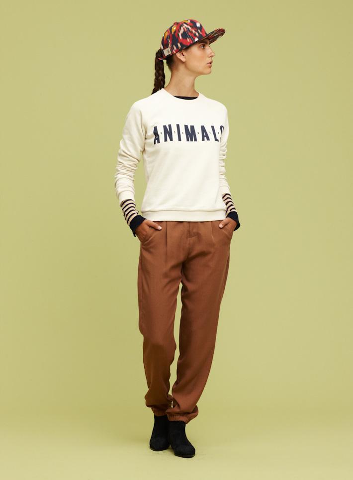 Libertine Libertine dámská bílá mikina, hnědé kalhoty