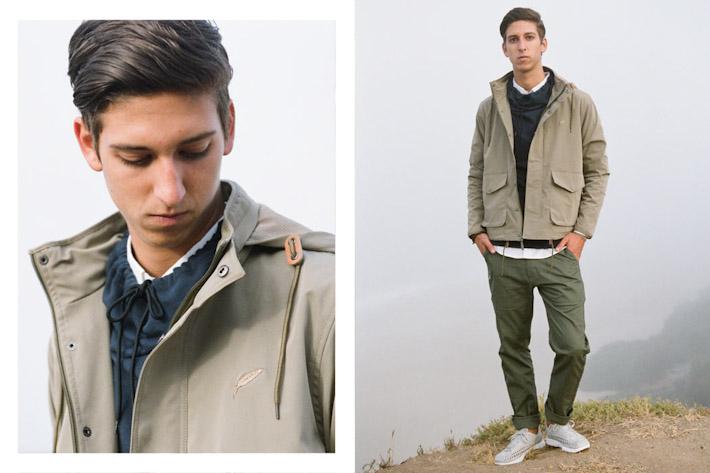 Publish béžová bunda pánská, zelené pánské kalhoty