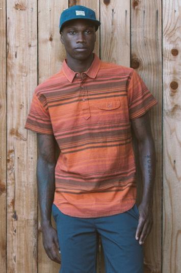 Obey pánská pruhovaná polokošile oranžová, pánské modré kalhoty