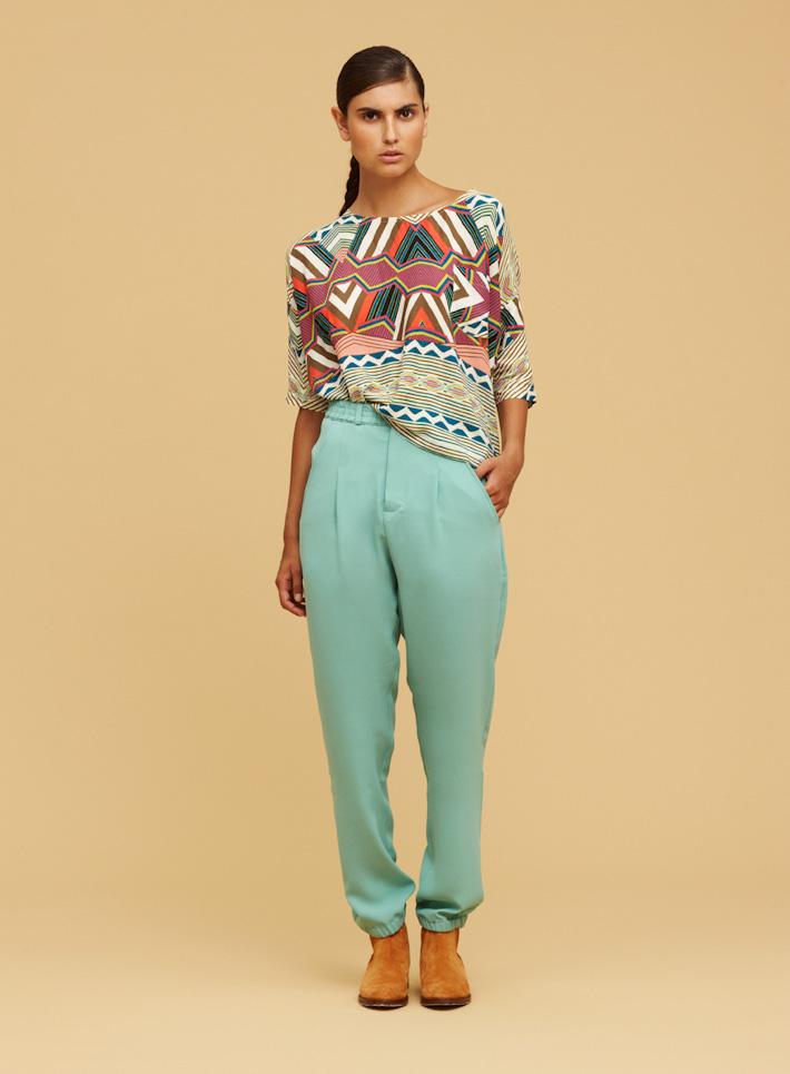 Libertine Libertine vzorovaný dámský top, zelené dámské kalhoty