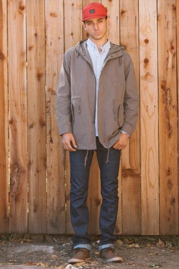 Obey pánská šedá bunda, pánské modré jeansy