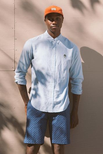 Obey pánská bledě-modrá košile, pánské modré šortky