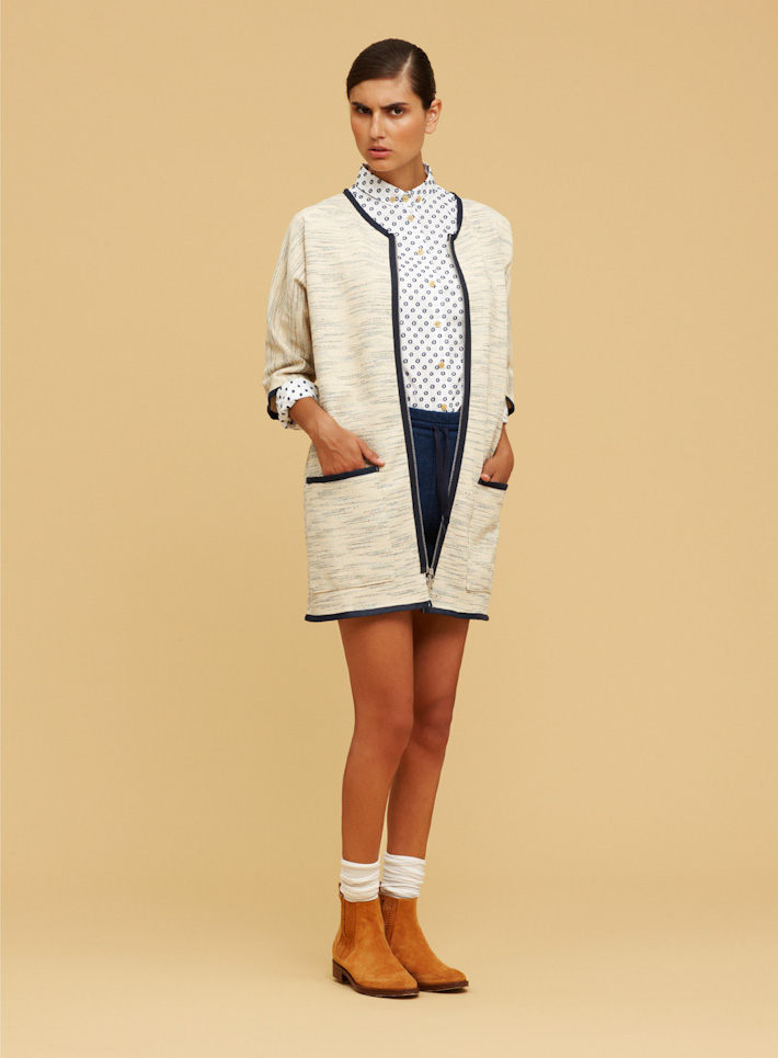 Libertine Libertine dámská bílá košile se vzorem, bílý kabátek