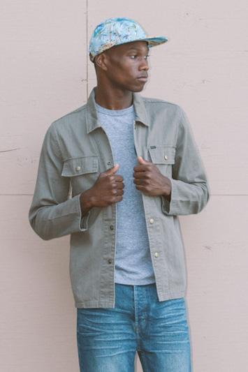 Obey pánská šedá košile, pánské modré jeansy