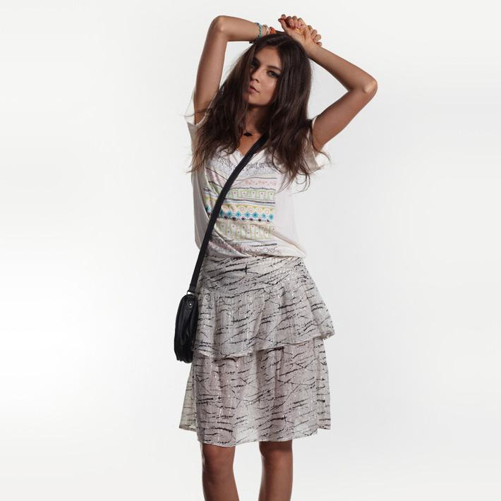 Stussy dámské bílé tričko, šedá letní sukně