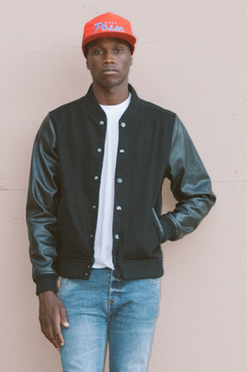 Obey pánská černá bunda do pasu, kožené rukávy