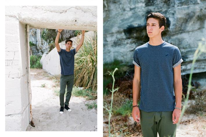 Publish modré puntíkované pánské tričko, zelené kalhoty pánské