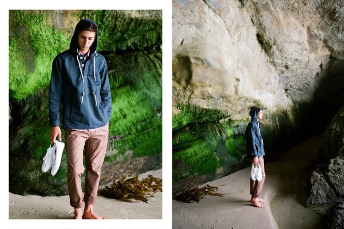 Publish modrá větrová bunda pánská, hnědočervené kalhoty pánské