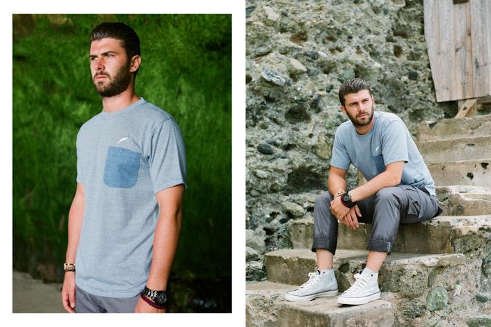 Publish modré tričko skapsičkou, šedé pánské kalhoty