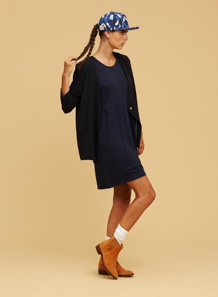 Libertine Libertine černý lehký dámský svetřík dlouhý, modré letní šaty