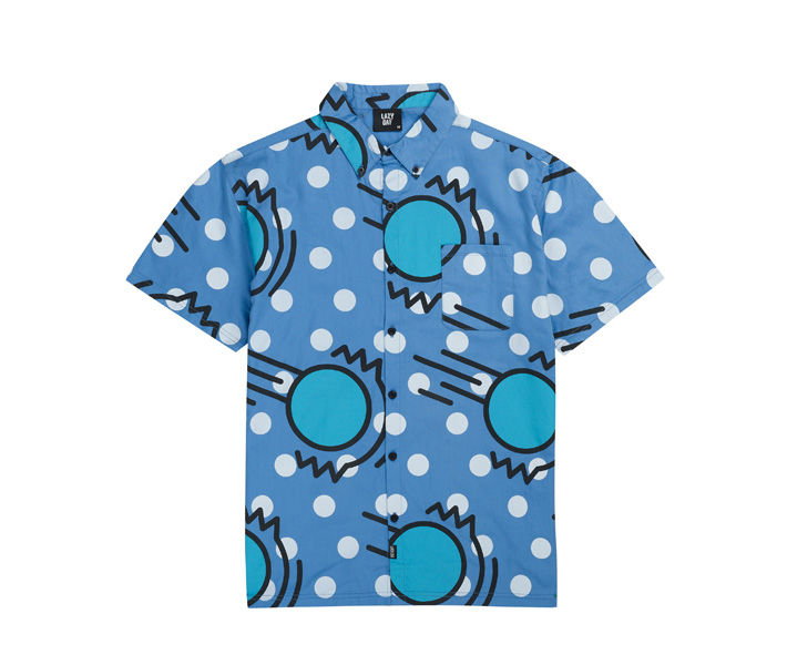 Lazy Oaf pánská modrá košile silustrací