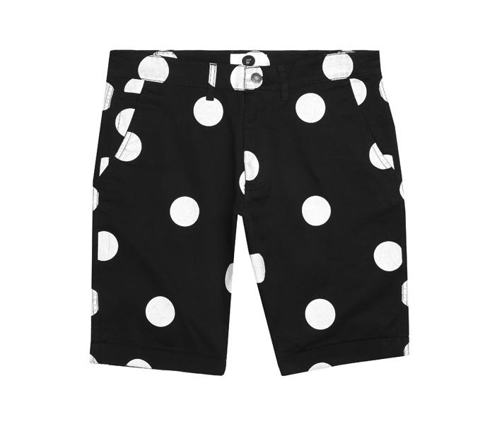 Lazy Oaf pánské černé šortky sbílými kolečky