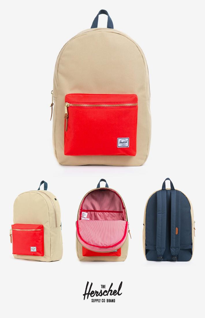 Herschel Supply batoh khaki na záda, červená kapsa