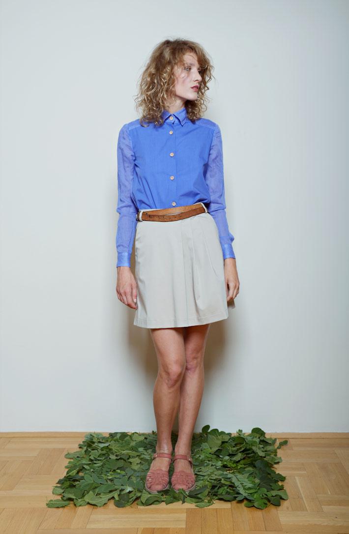 Kele dámská modrá košile, šedá sukně