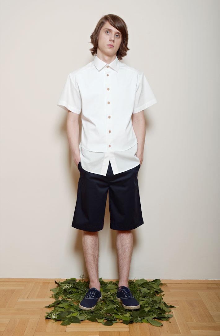 Kele – pánská bílá košile, modré šortky pánské