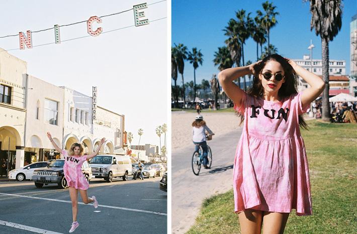 Lazy Oaf batikované letní šaty růžové