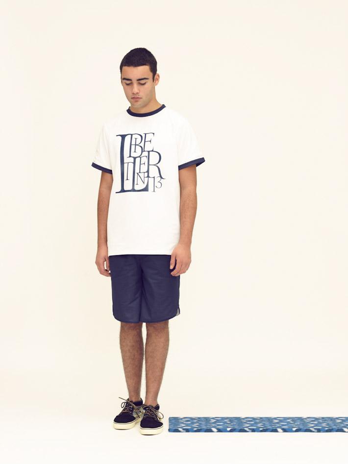 Libertine Libertine pánské bílé tričko, modré šortky