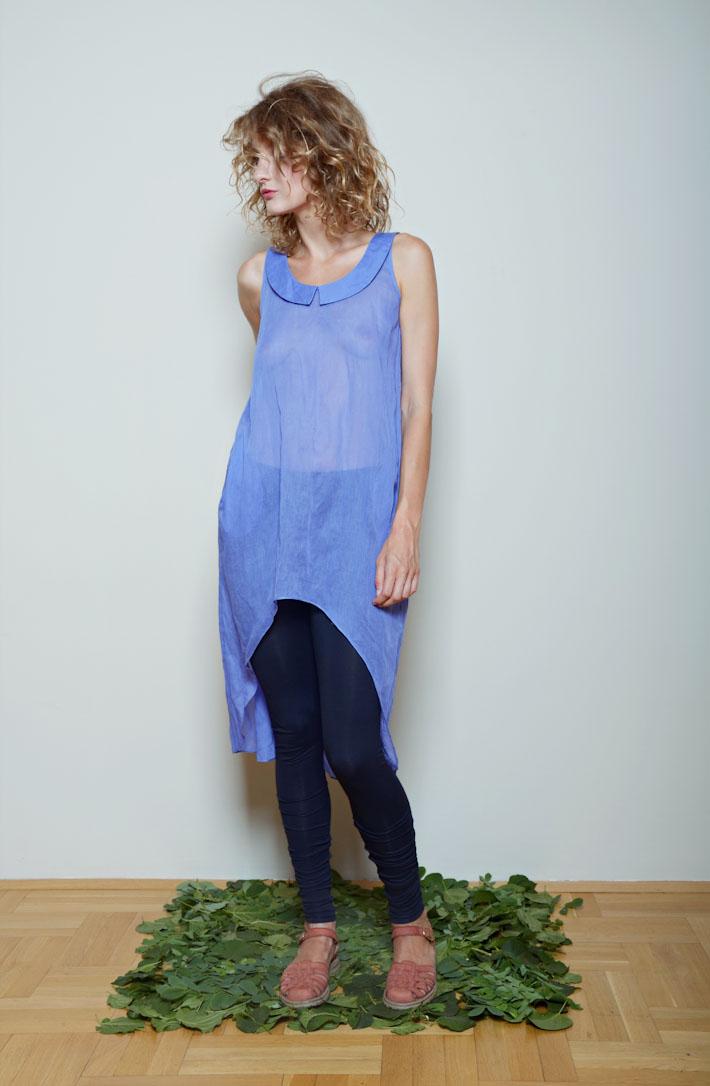 Kele dámské volné modré letní šaty, modré legíny