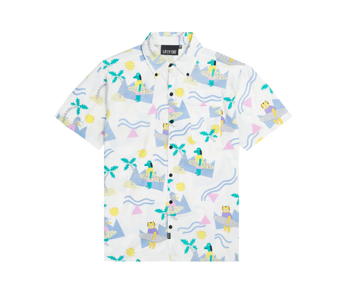 Lazy Oaf pánská bílá košile splážovou témetikou