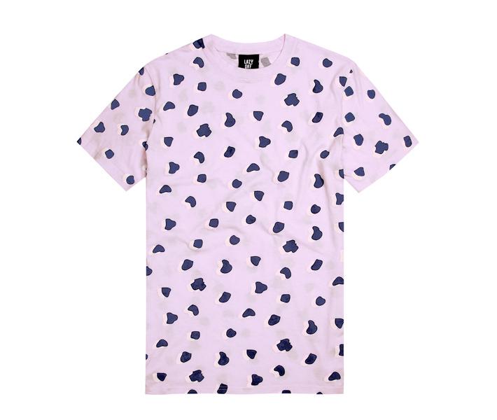 Lazy Oaf světle růžové pánské tričko se vzorem