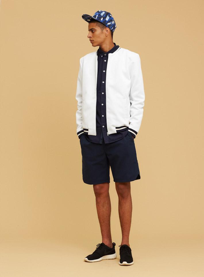 Libertine Libertine pánská bílá mikina na zip, pánská modrá košile, pánské modré šortky