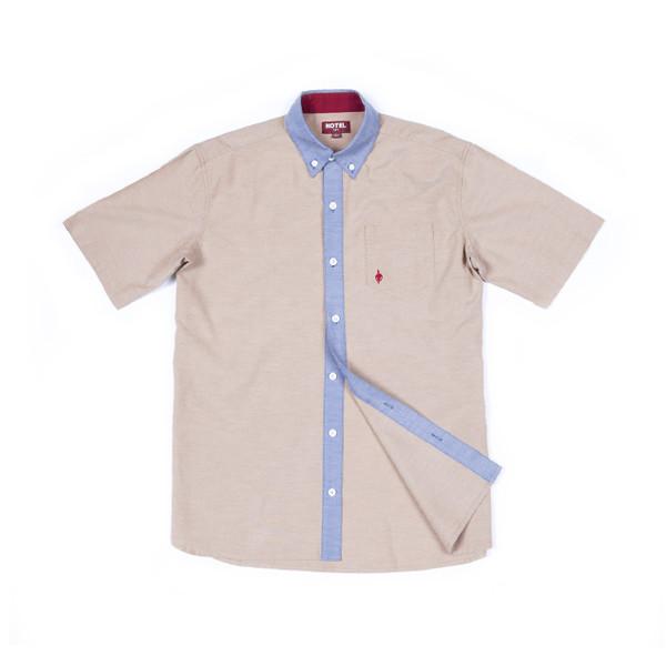 Hotel 1171 pánská béžová košile krátký rukáv