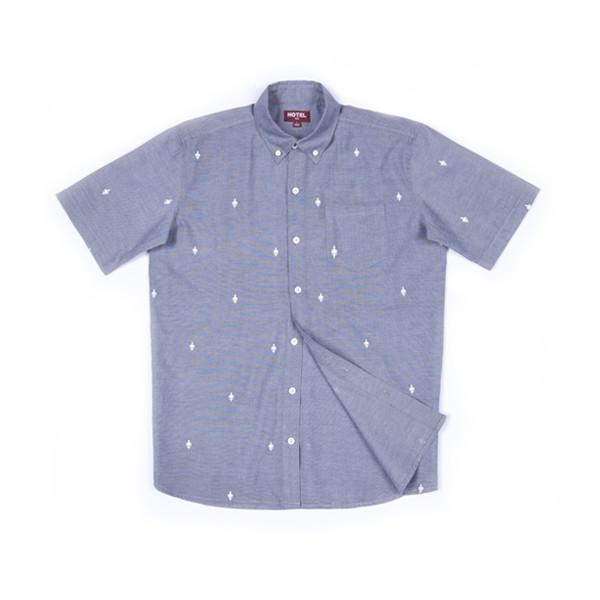 Hotel 1171 pánská modro šedá košile krátký rukáv