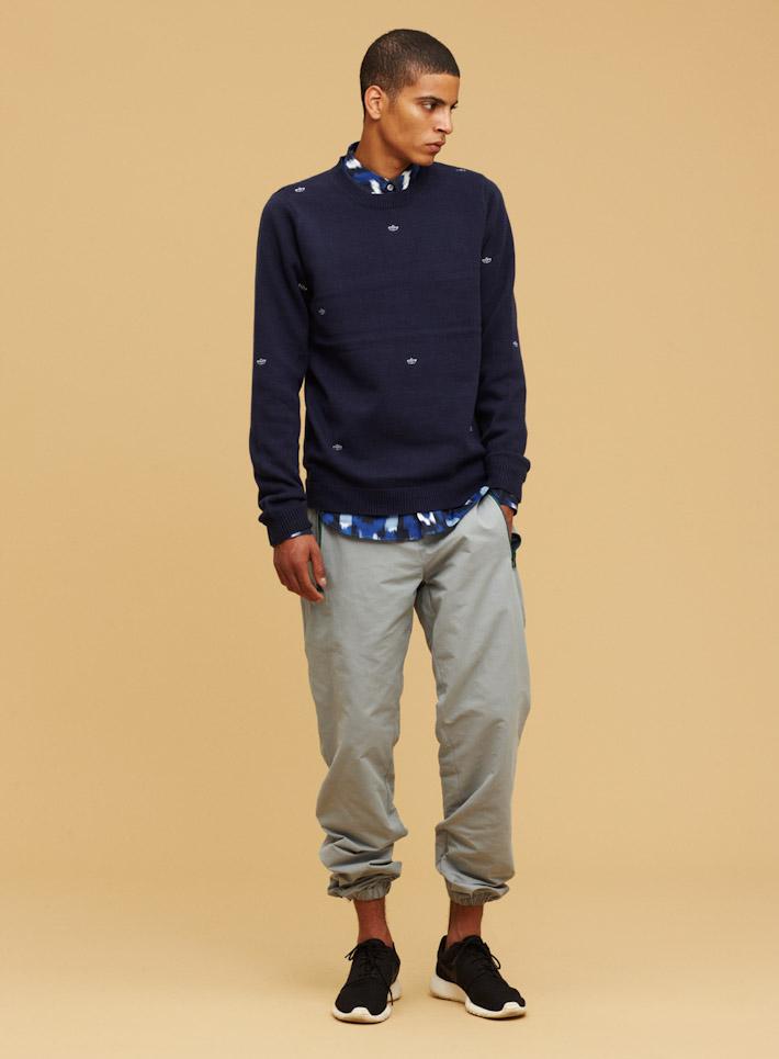 Libertine Libertine pánská modrá mikina, šedé kalhoty súpletem