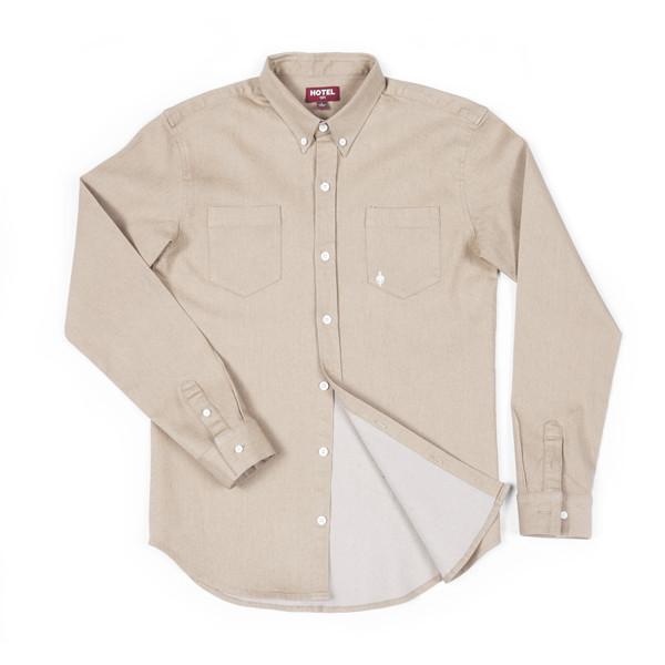 Hotel 1171 pánská písková košile dlouhý rukáv