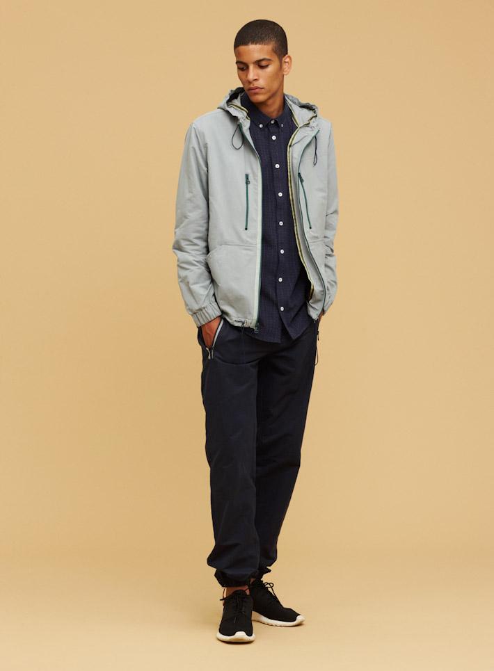Libertine Libertine pánská šedá bunda, pánské modré kalhoty súpletem