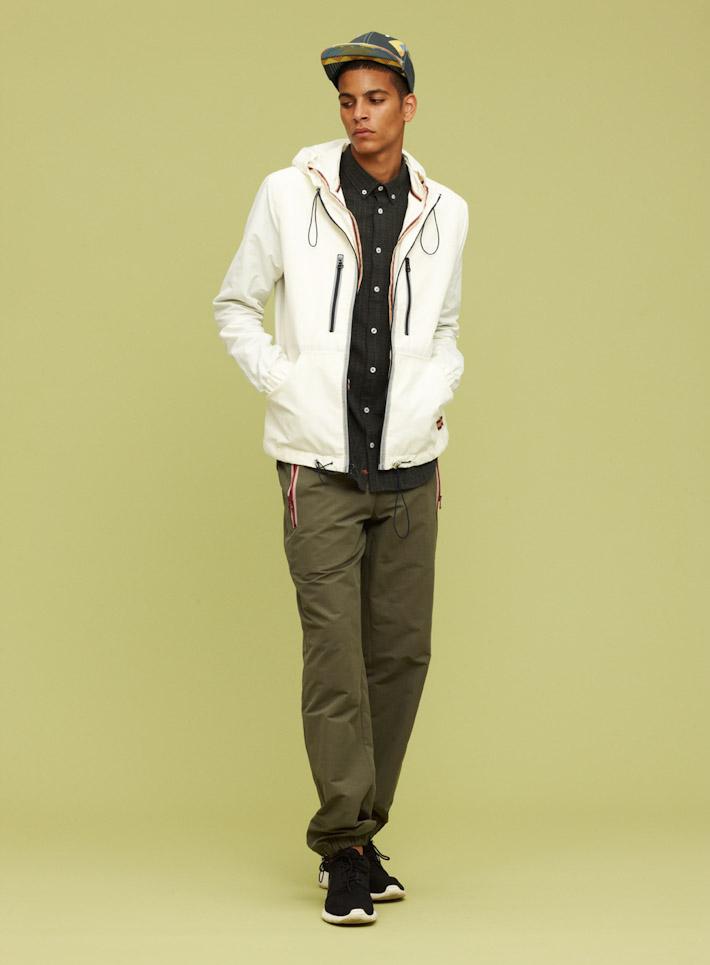 Libertine Libertine pánská bílá bunda, pánské zelené kalhoty súpletem