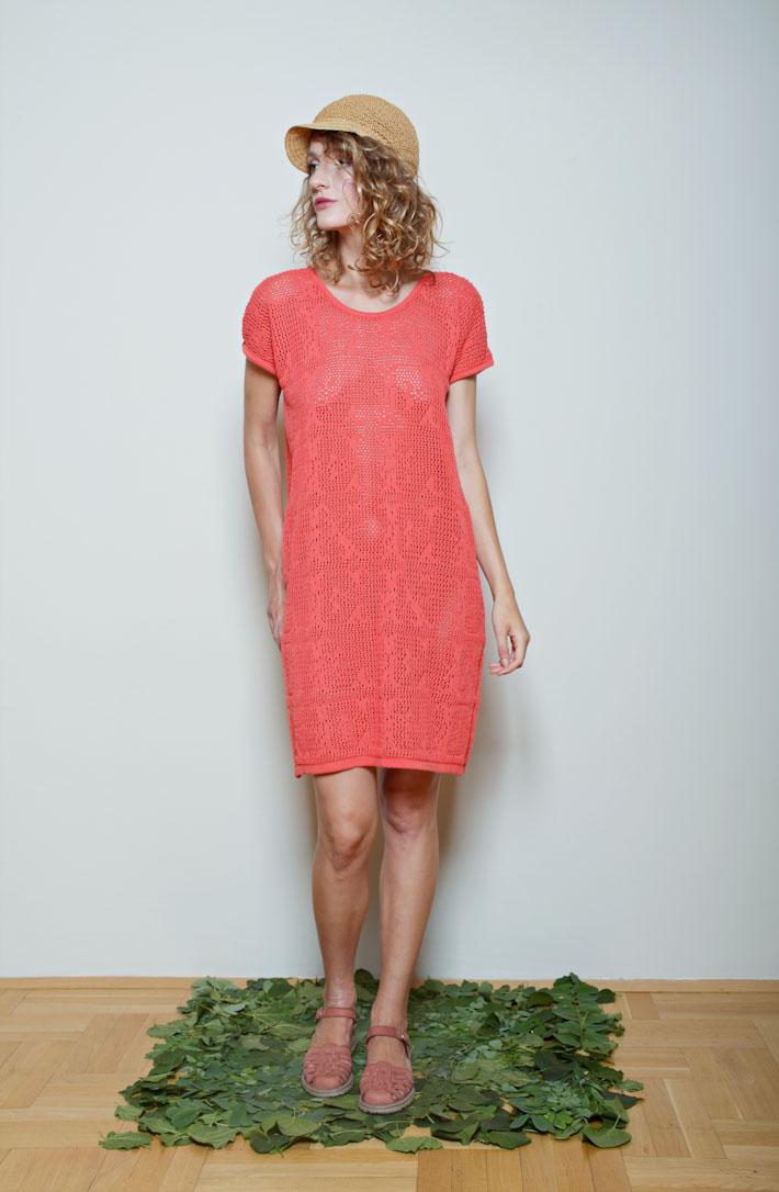 Kele pletené šaty růžovo oranžové