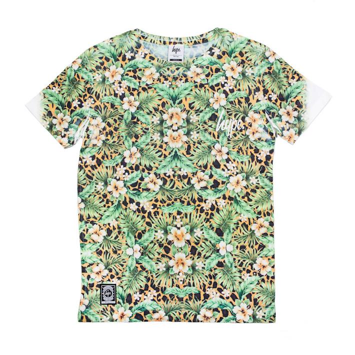 Just Hype tričko zelený květinový motiv