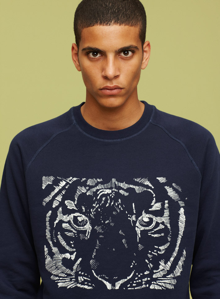 Libertine Libertine modrá mikina, potisk tigr
