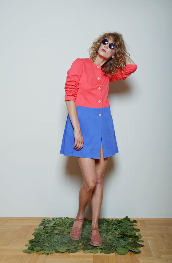 Kele dámské minimalistický kabátek modro růžový