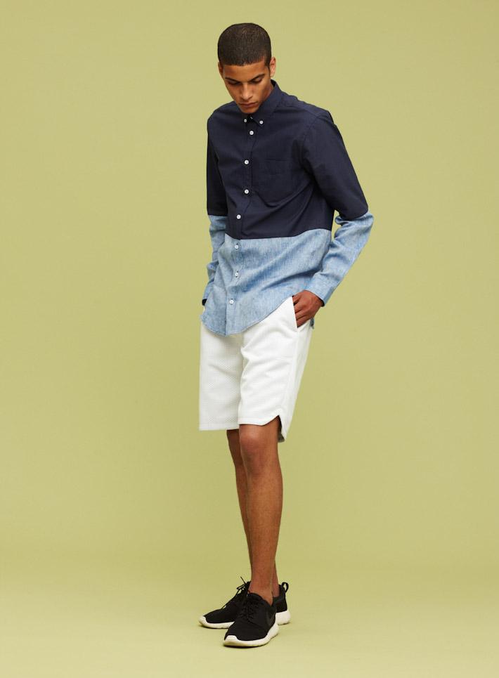 Libertine Libertine dvoubarevná pánská košile, bílé pánské šortky
