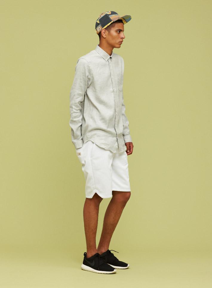 Libertine Libertine pánská plátěná košile šedo-bílá, bílé šortky