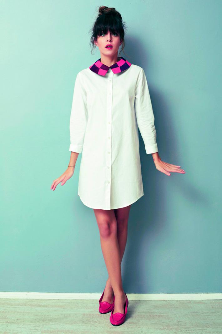 Asli Filinta dámské bílé letní originální šaty skárovaným límečkem